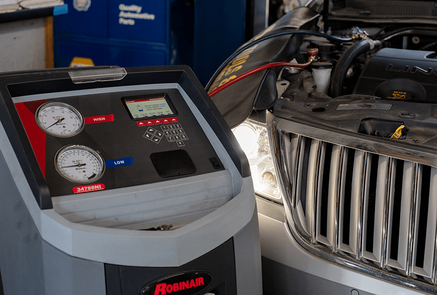 machine checks the calibration of heating and A/C in car